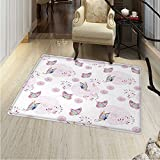 Butterfly Rugs for Bedroom Butterflies and Branches Romantic Spring Retro Faith Optimism Change Fly Theme Circle Rugs for Living Room 40''x55'' Pink White