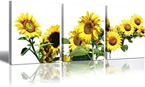 Sunflower Canvas Wall Art for Bedroom - Kitchen Pictures Wall Decor 12x16inch 3 Panels Flower Print Painting for Wall