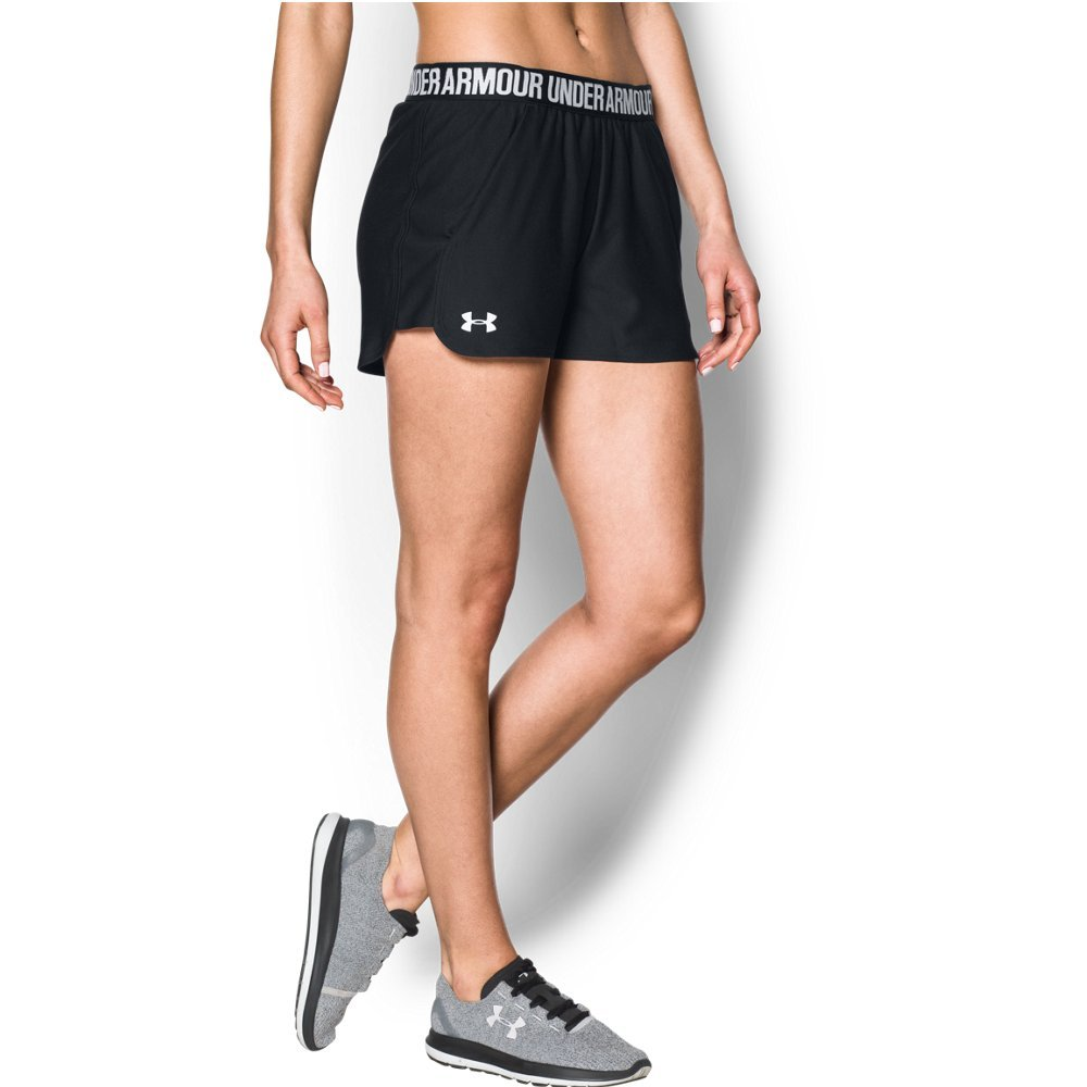 Under Armour Women's Play up Shorts 2.0, Black/White, Small