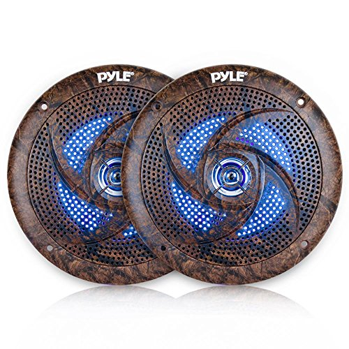 Pyle 6.5 Inch Marine Speakers - 2 Way IP44 Waterproof and Weather Resistant Outdoor Audio Stereo Sound System with Built-in Led Lights, 240 Watt Power and Low Profile Design - 1 Pair - PLMRLE64DK by Pyle