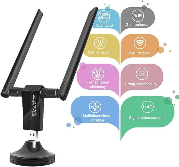 Adaptador WiFi 1200Mbps, USB 3.0 Antena WiFi Doble Banda 5.8G/2.4G con 5dBi Antenas de alta Ganancia y Cable Alargador, Receptor WiFi para ...