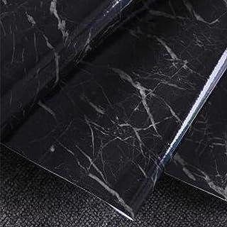 GEZICHTA Papel pintado efecto mármol granito, aspecto de anita, autoadhesivo, decoración de papel pintado, hojas de pegatinas de pared, encimera de pegatina, fondo de TV (estilo 4, negro) decoración de papel pintado Others
