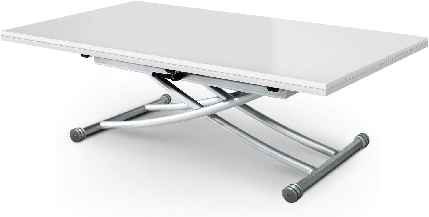 Menzzo B2219 Contemporain Carrera XL Table Basse Relevable Bois//Inox Laqu/é Blanc 75//120 x 150//120 x 39//76,3 cm