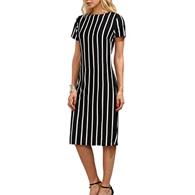 9a8ada464d2b 2018 Women s Short Sleeve Dress Round Neck Classy Striped to Work Midi  Dresses (S