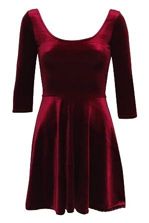 fddc0c4734 PILOT Amelia 3 4 Sleeve Velvet Skater Dress in Wine Red  Amazon.co.uk   Clothing