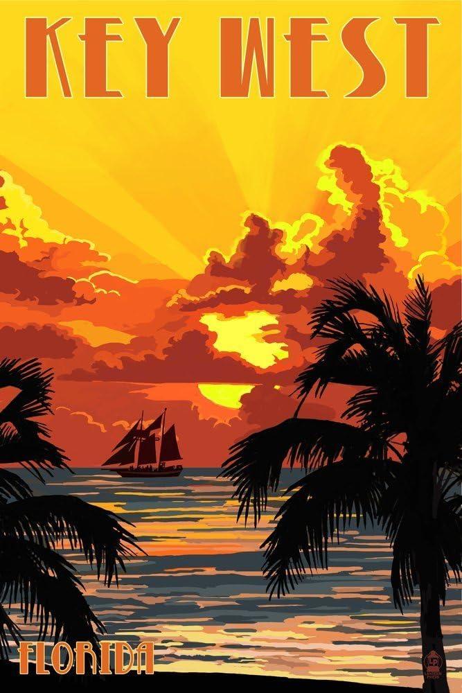 Key West, Florida - Sunset and Ship (9x12 Art Print, Wall Decor Travel Poster)