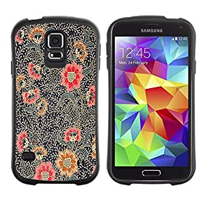 "Hypernova Slim Fit Dual Barniz Protector Caso Case Funda Para Samsung Galaxy S5 [Pintura Oriental Art Rojo Negro""]"