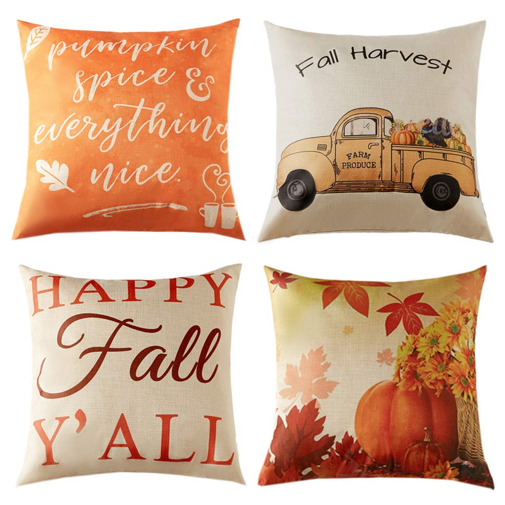 Anickal Set of 4 Fall Pillow Covers Autumn Theme Farmhouse Decorative Throw Pillow Covers 18 x 18 Inch for Thanksgiving Home Decoration by Anickal