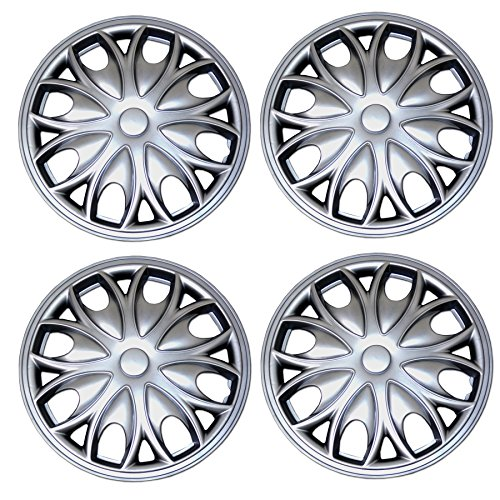 Tuningpros WC3-15-3526-S - Pack of 4 Hubcaps - 15-Inches Style 3526 Snap-On (Pop-On) Type Metallic Silver Wheel Covers Hub-caps (2010 Hubcaps Volkswagen Jetta)