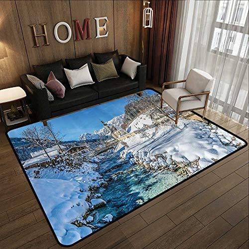 Office Floor mats,Farm House Decor,Winter Bavarian Alps High Ice Creek Forest Salzburg Austrian Retro Print,Blue White 78.7