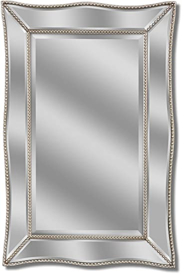 Headwest Metro Beaded Scalloped Mirror, 24 Inches by 36 Inches
