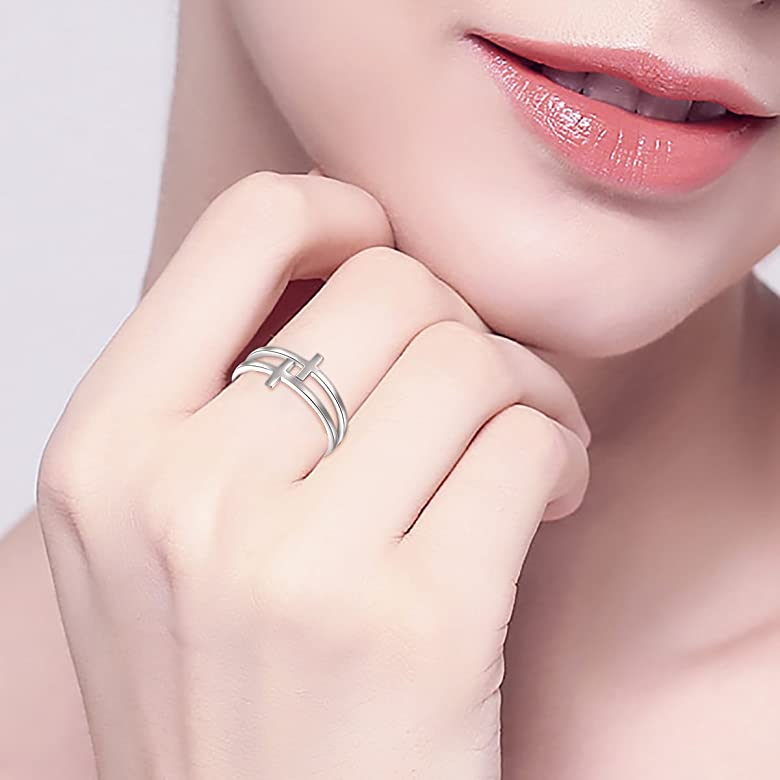 Size 6-8 DAOCHONG Inspirational Jewelry Sterling Silver Engraved Believe All Things are Possible Band Ring for Women Girl