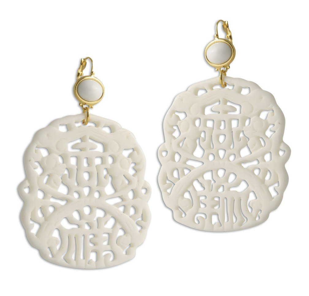 Kenneth Jay Lane White Carved Resin Drop French Hook Earrings