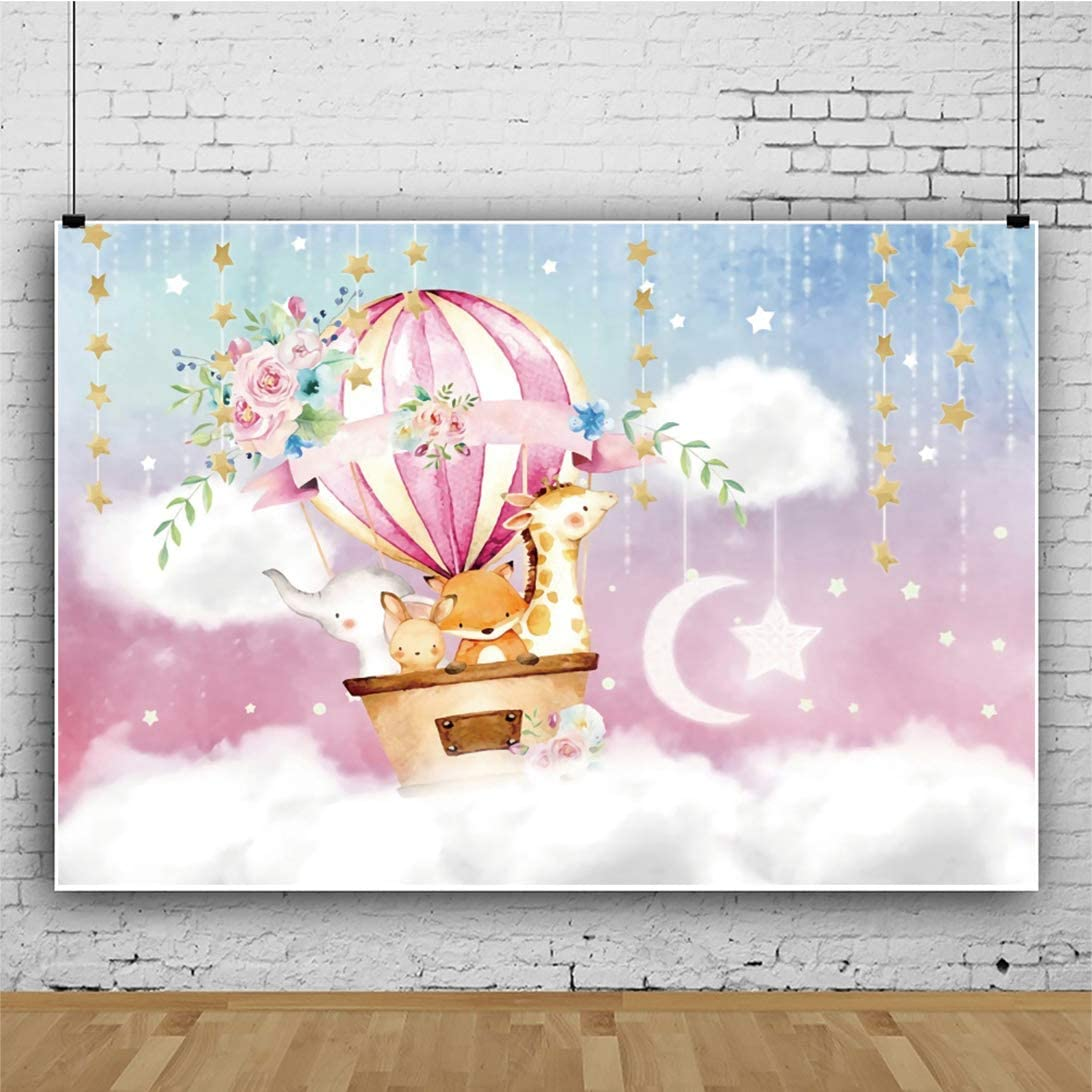 Yeele Adventure Baby Shower Photography Backdrop 6x4ft Hot Air Balloon Journey in Fairy Sky Background Kindergarten Activity Wild Baby Shower Party Table Decor Photo Booth Digital Wallpaper