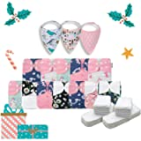 KaWaii Baby Holiday Gift Pack 12 One Size Cloth Diapers + 24 One Size Inserts + 3 Bibs - Glitter Stars #313