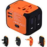 Travel Adapter,Universal World Travel Plug Adapter with Dual USB Charger. Swiss Designed for Safety Outlet. Charge iPads,Blackberrys and Other USB Devices in Over 150 Countries (Orange)
