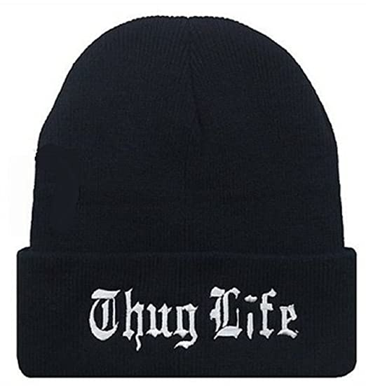 dbbf3d6eb09 Amazon.com  YOXO Winter Warm Knit Thug Life Beanie Hat for Men and Women  Winter Cap Skully Letter Beanie  Sports   Outdoors