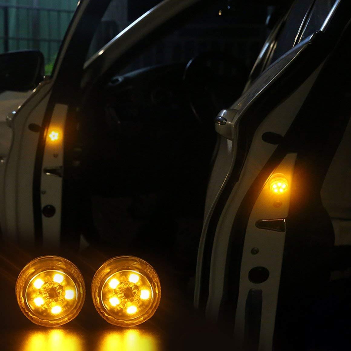 Funnyrunstore Modificació n gratuita inalá mbrico Car-Styling LED Light Anti Collision Luz de la puerta del coche (Amarillo)