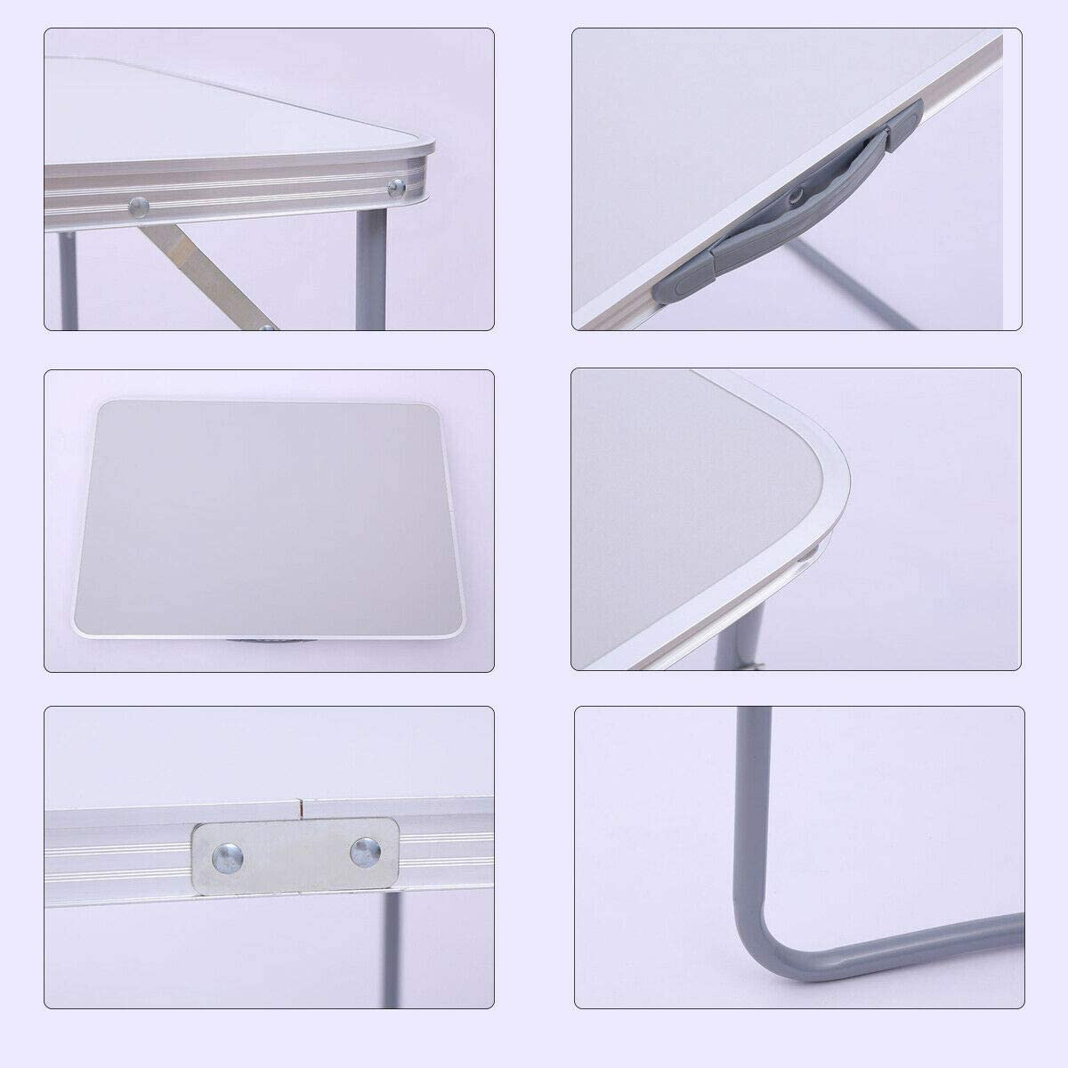 Lumiereholic Folding Table Picnic Table Garden Table Camping Table Adjustable Portable Folding Table White 80 x 60 x 70 cm