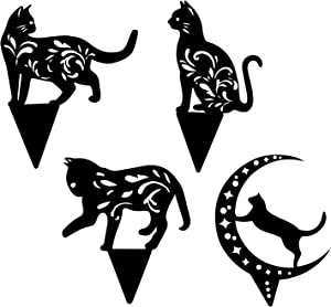 ZIIVARD 4Pcs Metal Cat Garden Stakes - Black Cat Silhouette Garden Statues Outdoor Animal Stakes for Yard Decor, Lawn Ornaments, Cat Toys Gifts for Cat Lovers