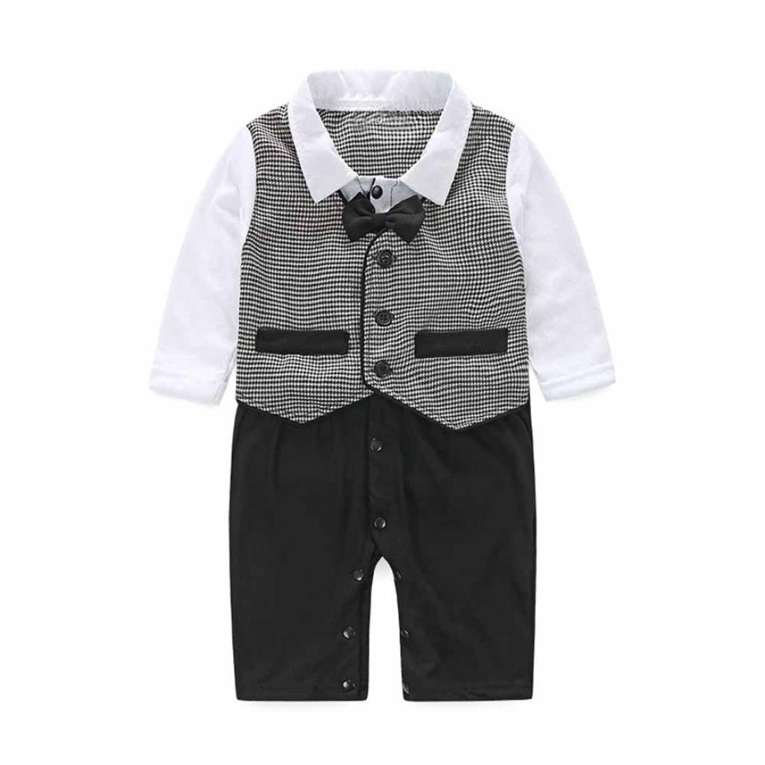 0-24 Months Pollyhb Bady Boy Clothes Set Baby Boy Bow Tie Formal Party Christening Wedding Tuxedo Waistcoat Suit 0-24M