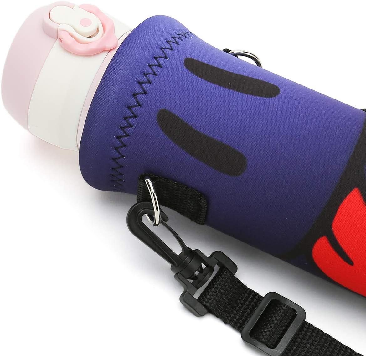 RICHEN Insulated Water//Wine//Tea Bottle Carrier Sling Bag Pouch Case with Shoulder Strap,Bottle Holder Cross-Body Shoulder Bag for Outdoor Sports Camping Travel,Black