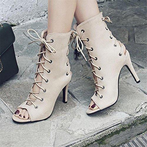 Creux eu40 Club À Rome Party 41 Velours Femmes Xie Stiletto Heel Cheville Sandales Bretelles Beige Chaussures 35 Taille FxAqnR
