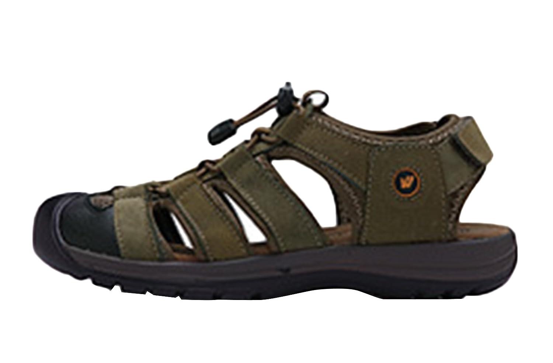 SK Studio Hombre Senderismo Sandalias de Cuero Punta Cerrada Outdoor Zapatos Con Velcro 41 EU|Verde caqui