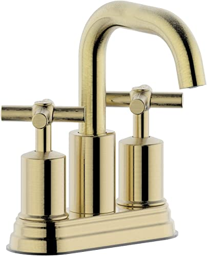 Duttao DF-4303CCH-BG 4 Inch 2 Handle Bahroom Sink Faucet with Push up PoP-up Drain, Meets UPC, IPC, NSF61-9, AB1953, Lead Free, WaterSense Certified,Brushed Gold Finish