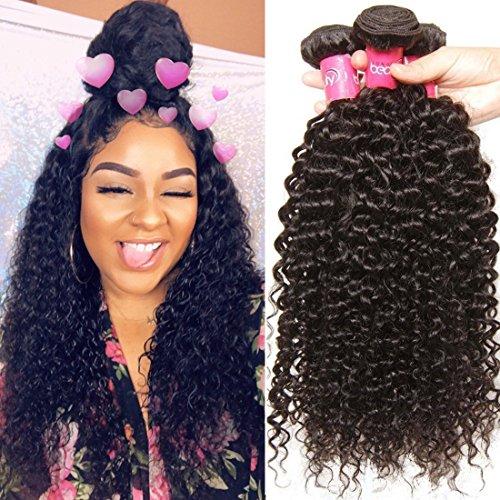 Malaysian Hair 4 Bundles, Longqi Beauty hair Malaysian Curly Remy Hair 4pcs Set 100% Unprocessed Human Bundles (# 18 20 22 24inch, Natural Color) Review