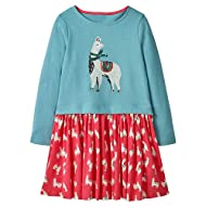 HILEELANG Little Girls Cotton Dress Short Sleeves Casual Summer Striped Printed Shirt
