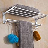 Rerii Bath Towel Rack with Towel Bar, Wall-Mounted Aluminum Alloy Bathroom Storage Organizer Shelf, Foldable Bath Double Towel Shelf, Towel Holder with 5 Hooks