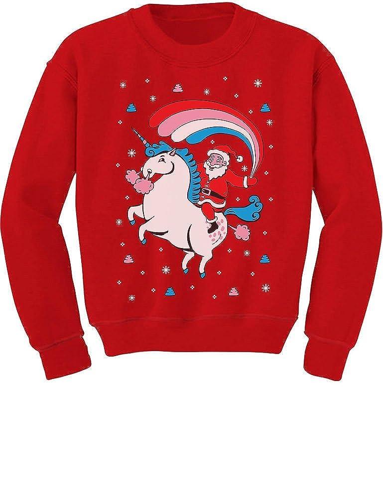 TeeStars - Santa Riding Unicorn Rainbow Ugly Christmas Youth Kids Sweatshirt GMPlhahgfm