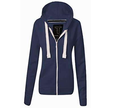 Womens Hoodie Hood Plain Jumper Ladies Navy Fleece Casual Zip Top ...