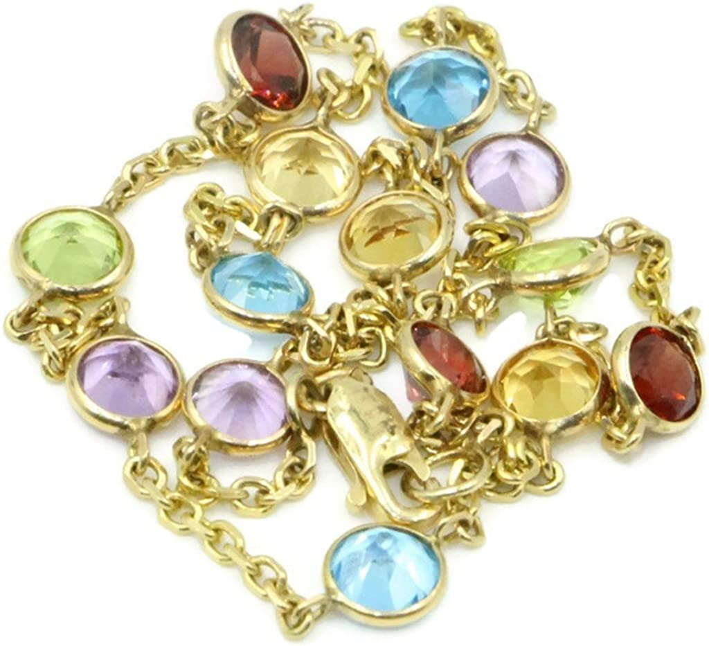 """Sophia Fine Jewelry Multi-Color Gemstones 10"""" Anklet,14K Yellow Gold Cable Chain"""