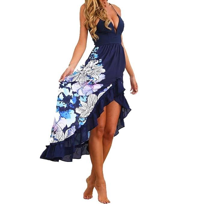 Mujer Verano Elegantes Cuello en V Bohemios Maxi Vestido de Largo Cóctel de Noche Moda Vestido