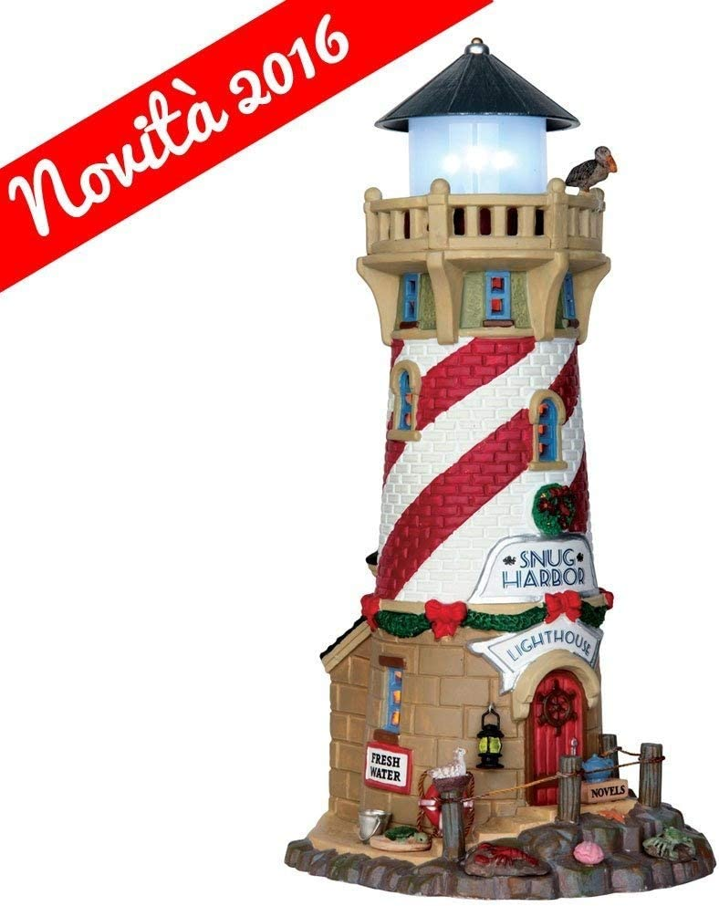 "Lemax 65163 Snug Harbor Lighthouse, Plymouth Corners Village Collection, Porcelain Colorful Miniature Lighted Building, X'mas Decor/Gift/Collectible, Excludes 3 x AA 1.5V Batteries, 9.65""x4.41""x5.12"""