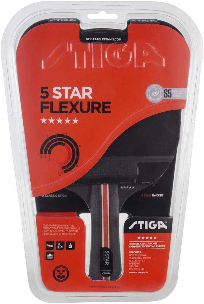 Stiga 5-Star Flexure - Raqueta de Ping Pong Unisex para Adulto, Negro/Rojo, Talla única