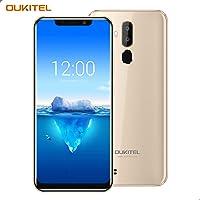 "OUKITEL C12 Pro – 4G Smartphone Libre DE 6.18"" HD 19:9 IPS con Antihuellas Quad-Core 2 + 16GB SIM Doble Telefonos Moviles Android 8.1 Cámara 8MP+5MP Face ID Versión Europea - Oro"