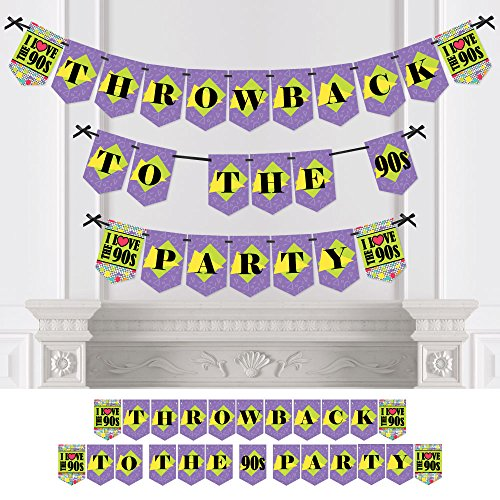 Big Dot of Happiness 90s Throwback - 1990s Party Bunting Banner - Party Decorations - Throwback to The 90s Party