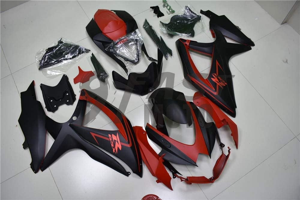 S1300 Black /& Red 9FastMoto Fairings for suzuki 2008 2009 2010 GSX-R600 GSX-R750 K8 08 09 10 GSXR 600 750 Motorcycle Fairing Kit ABS Injection Set Sportbike Cowls Panels
