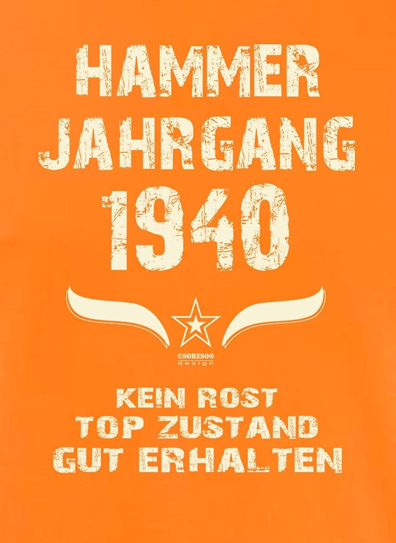 Soreso Design Geschenk Zum 78. Geburtstag :-: Männer Herren T-Shirt Hammer  Jahrgang 1940 Geburtstagsgeschenk Farbe: Orange: Amazon.de: Bekleidung