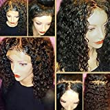 JYZ Hair 360 Lace Frontal Wig with BaBy Hair Pre-Plucked Natural Hairline Brazilian Virgin Hair 180% Density Curly Hair 360 Lace Wig for Black Women(18inch Free Part)