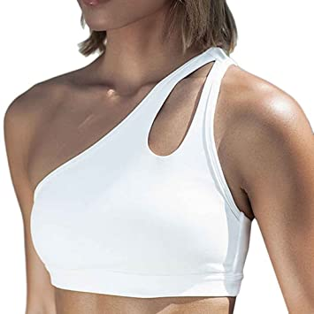 Sports Bras One Shoulder Solid Shockproof Padded Workout Running Ropa interior Minzhi