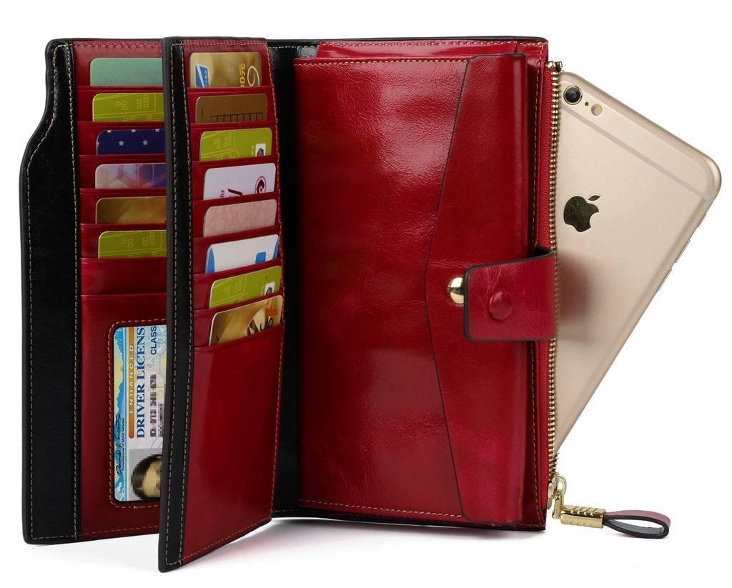 YALUXE Women's Wax Genuine Leather RFID Blocking Clutch Wallet Wallets for Women Red by YALUXE (Image #4)