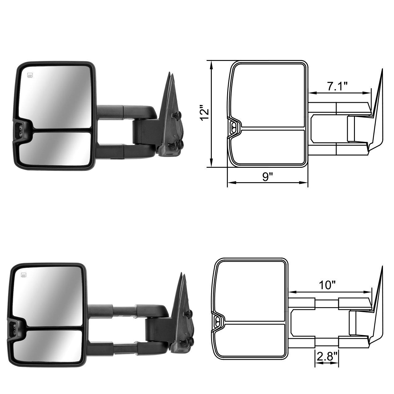 DEDC Tow Mirrors Fit for Chevy Silverado 1500 2500 3500 GMC Sierra 2003 2004 2005 2006 A Pair