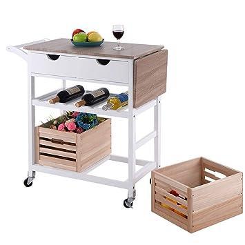 Apontus Rolling carrito de cocina isla carro drop-leaf W/CAJÓN DE ALMACENAMIENTO CESTA botellero: Amazon.es: Hogar