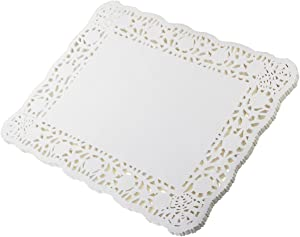 LJY 100 Pieces White Lace Rectangle Paper Doilies Cake Packaging Pads Wedding Tableware Decoration (12