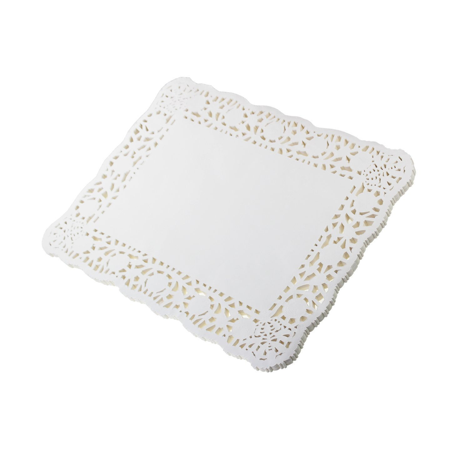 8 x 12 LJY 100 Pieces Off-White Lace Rectangle Paper Doilies Cake Packaging Pads Wedding Tableware Decoration