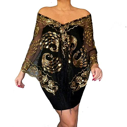 Plus Size Black Wrap Embroidered Gold Shawl Womens Cocktail Top By ZiiCi
